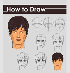 Draw tutorial step by step male face vector