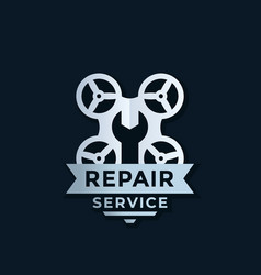 Drone repair service logo design vector
