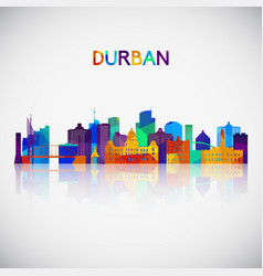 durban skyline silhouette in colorful geometric vector image