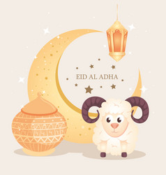 eid al adha mubarak happy sacrifice feast vector image