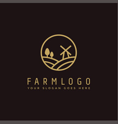 elegance lineart farm logo icon template vector image