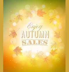 enjoy autumn sales background with autumn leaves vector image