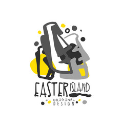 exotic easter island summer vacation logo vector image