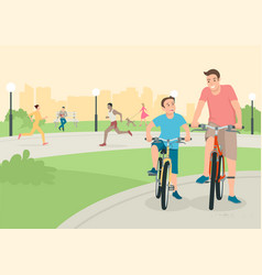 father and son riding bicycle in city park vector image