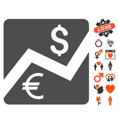 financial diagram icon with valentine bonus vector image