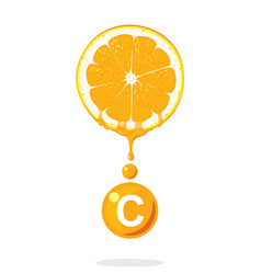 Fresh orangevitamin c vector