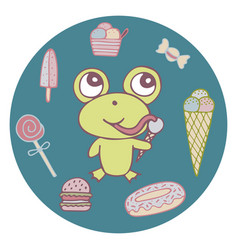 Funny hand-drawn frog the sweet tooth vector