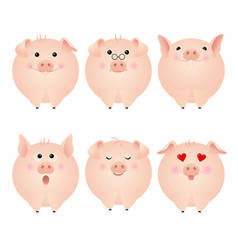 funny pig stickers vector image