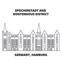 Germany hamburg speicherstadt district line icon vector