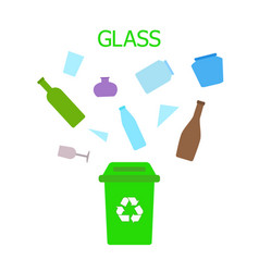 glass waste green bin waste sorting and recycling vector image