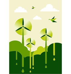 Go Green wind-turbine park vector
