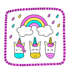 Greeting card with funny unicorns and a rainbow vector