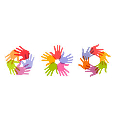 hand print circle icon set handprint emblems vector image