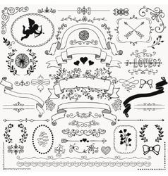 Hand Sketched Rustic Floral Design Elements vector image
