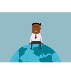 Happy businessman sitting on the earth globe vector