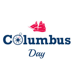 happy columbus day text on white background or vector image
