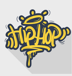 Hip hop tag graffiti style label lettering vector