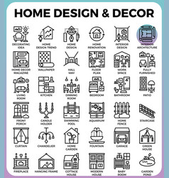 Home design and decor icons vector
