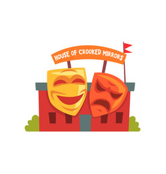House of crooked mirrors colorful amusement park vector
