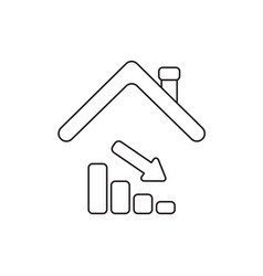 Icon concept sales bar graph down under house vector