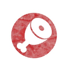 Icon of Meat with pixel print halftone dots vector
