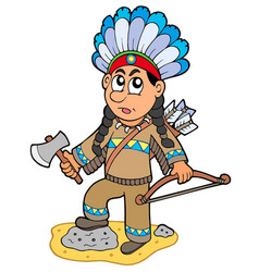 Indian boy with axe and bow vector