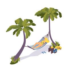 isometric sunbathing girl on a hammock under palm vector image