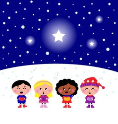 kids singing a christmas carol vector image