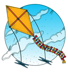 Kite flying in the sky colored in cartoon style vector