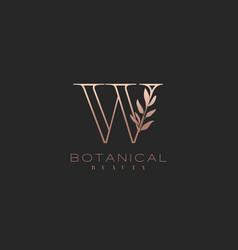 Letter w botanical elegant minimalist signature vector