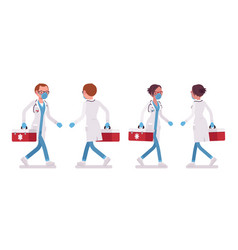 Male and female doctor walking vector