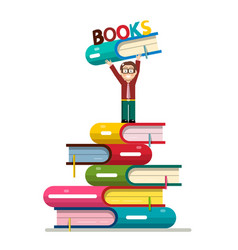 man holding book above head on books pile vector image