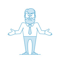 Man shrugs and spreads his hands in confusion vector