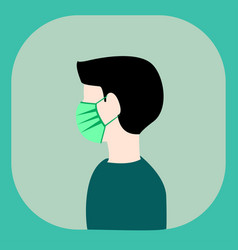 Man wearing mask to protectionsafety side view vector