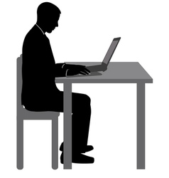Man working on his laptop vector