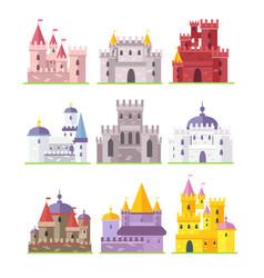 medieval castles flat set vector image