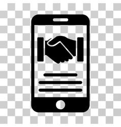 Mobile agreement handshake icon vector