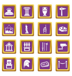 Museum icons set purple vector