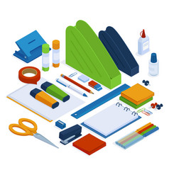 office supplies isometric stationery tools vector image