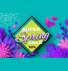 Origami violet super spring sale flowers vector