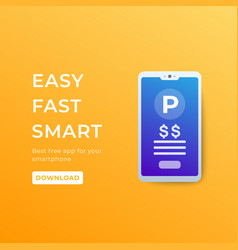 Parking pay with app in smartphone vector
