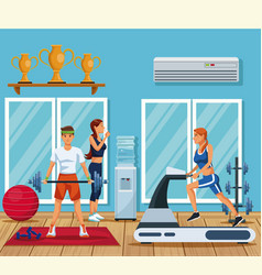 people in the gym vector image