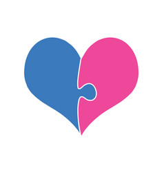 pink and blue heart assembled of two puzzle pieces vector image