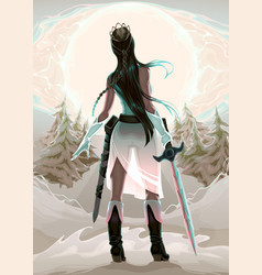 Princess warrior in the wood vector