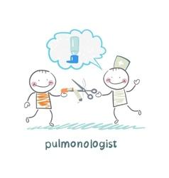 pulmonologist scissor cigarette patient vector image