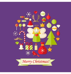Purple Christmas Card with Flat Icons Set and vector