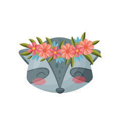 Raccoon with flower wreath flora and fauna vector