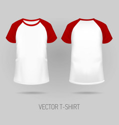raglan t-shirt with red short sleeve vector image