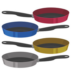 realistic empty frying pan in four colors vector image