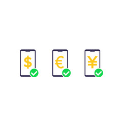Received payment money icons vector